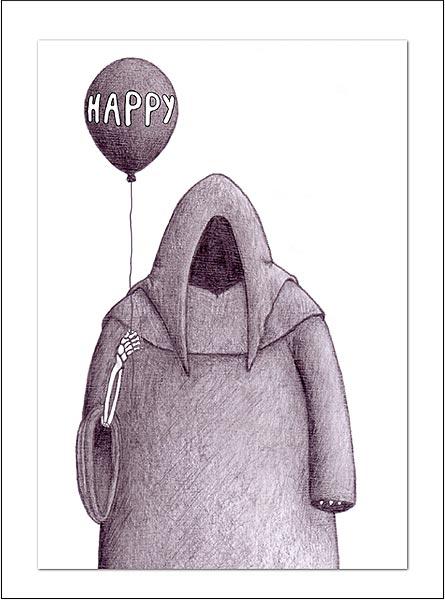 Greeting Card - Mr. Death Happy Birthday Card Happy Death Day